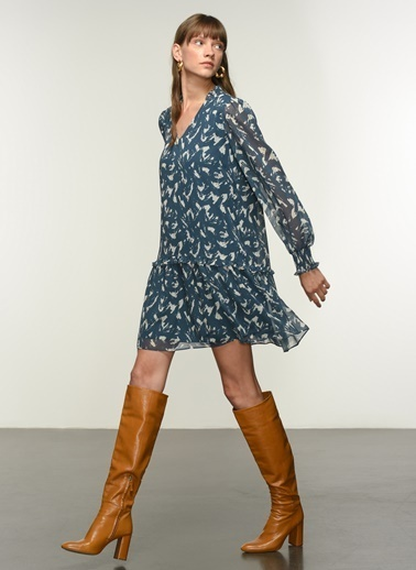 NGSTYLE NGSTYLE Kadın Fırfır Detaylı Desenli İndigo Günlük Elbise İndigo